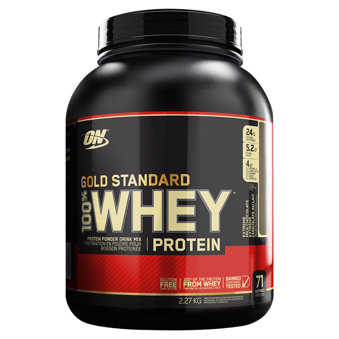 Optimum Nutrition Gold Standard 100% Whey Protein Mixed Source Whey Protein 5lb / Extreme Milk Chocolate at Supplement Superstore Canada