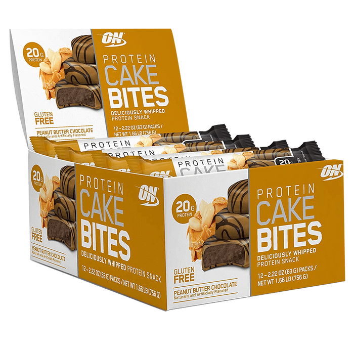 Optimum Nutrition Protein Cake Bites Protein Bar Box of 12 / Peanut Butter Chocolate at Supplement Superstore Canada