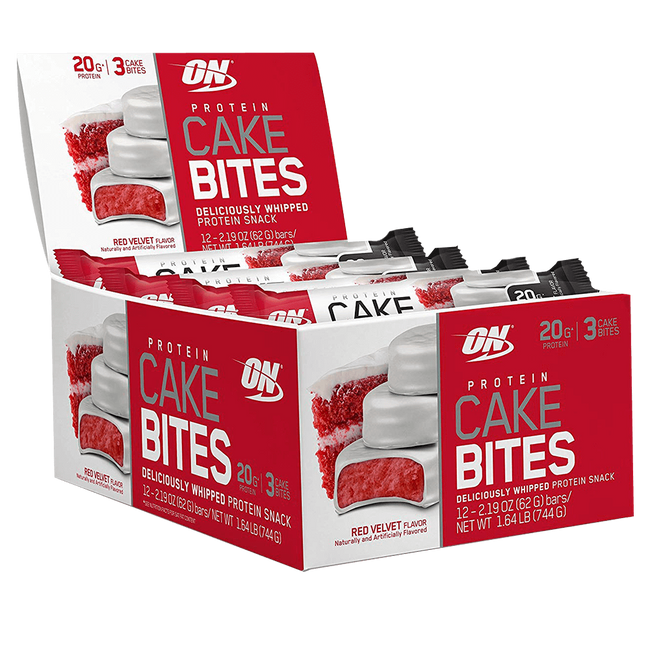 Optimum Nutrition Protein Cake Bites Protein Bar Box of 12 / Red Velvet at Supplement Superstore Canada