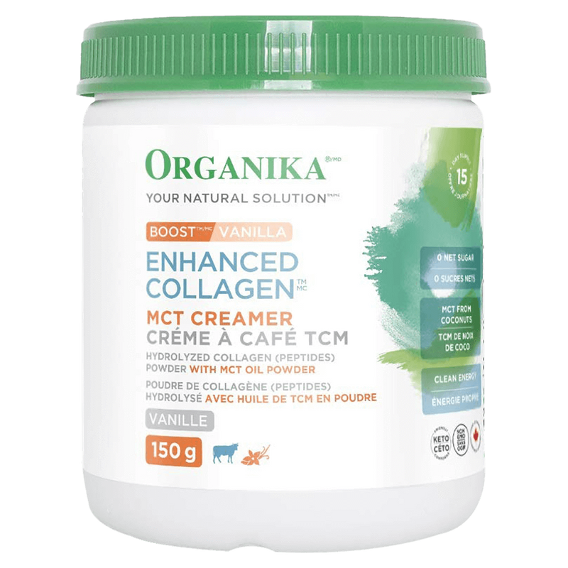 Organika Enhanced Collagen MCT Creamer Digestion Support 150g / Vanilla at Supplement Superstore Canada