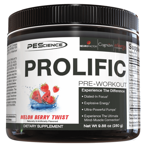 PEScience Prolific Pre Workout 40 Servings / Melon Berry Twist at Supplement Superstore Canada