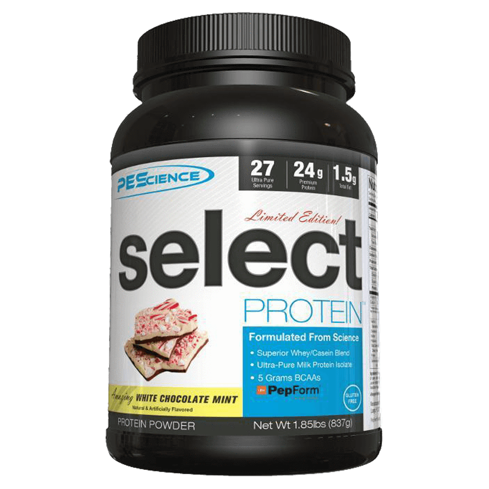 White Chocolate Mint Select Protein by PEScience Sustained Release Protein at Supplement Superstore Canada