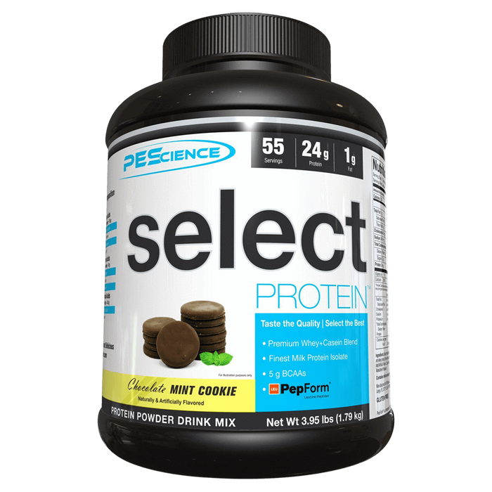 PEScience Select Protein Sustained Release Protein 55 Servings / Chocolate Mint Cookie at Supplement Superstore Canada