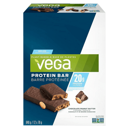 Vega 20g Protein Bar Protein Bars Box of 12 / Chocolate Peanut Butter at Supplement Superstore Canada 838766180830