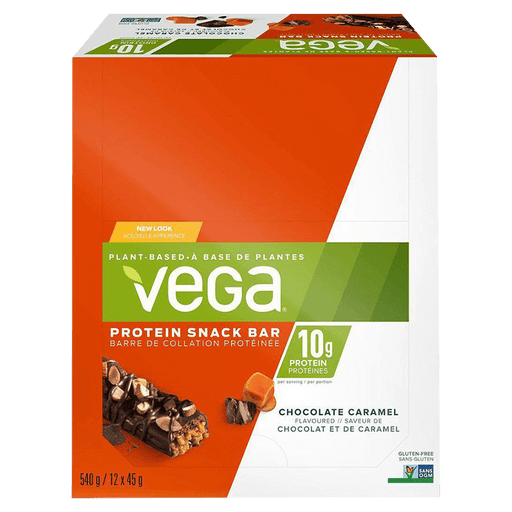 Vega Protein Snack Bar Protein Bars Box of 12 / Chocolate Caramel at Supplement Superstore Canada 838766180892