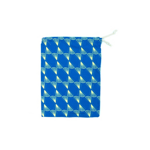 Small Ethically Made Kitenge African Fabric Gift Bag in blue with a cream geometric pattern