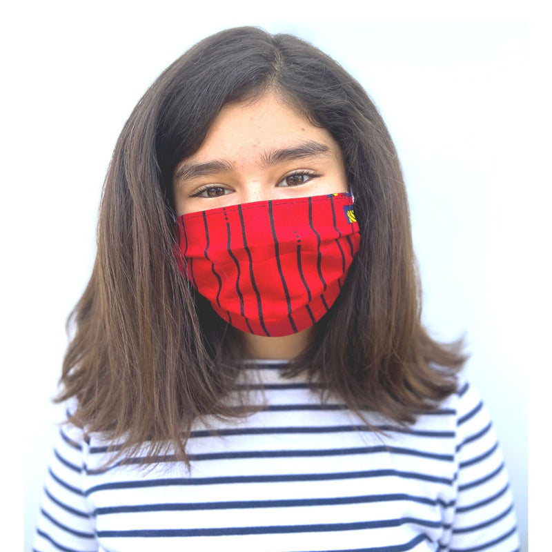 Kid's African fabric surgical mask that gives back in red