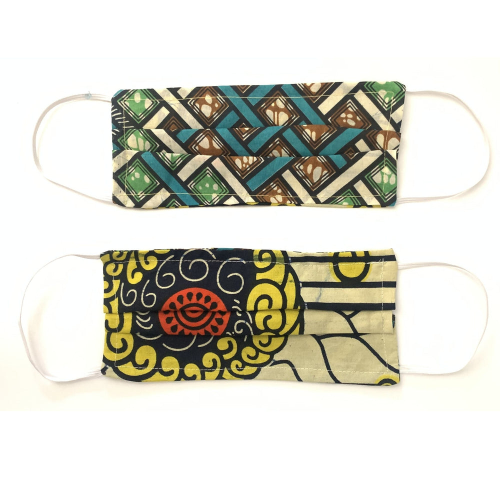 Two Kitenge African fabric face masks against a white background, Helping the homeless
