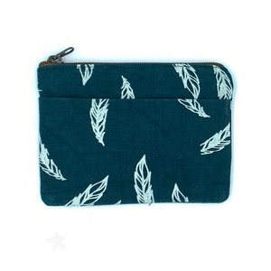 Blue Feather African Fabric Coin Purse With Zipper and Pocket