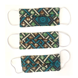 Three African face mask with a cause, hand-sewn surgical face masks with elastic