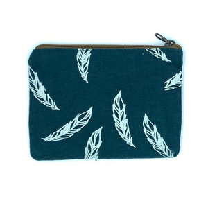 Ethically Made Blue Feather African Fabric Coin Purse