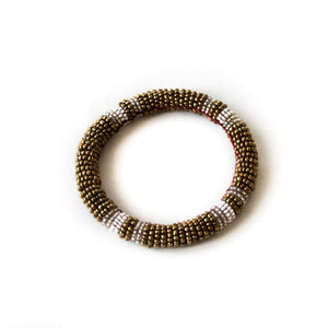 Ethical metallic gold beaded bangle