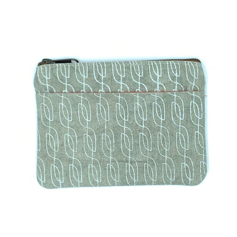 Ethically Made Oatmeal Colored Coin Purse with Zipper and Pocket That Empowers Artisans