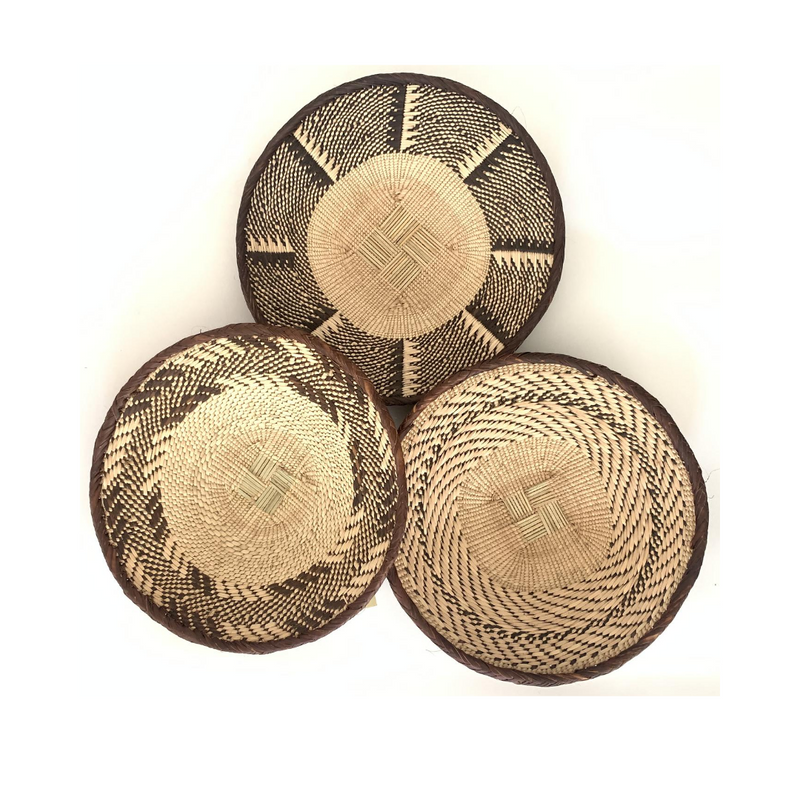 3 Binga Baskets against a white background, providing an opportunity for artisans to be paid well with dignified work