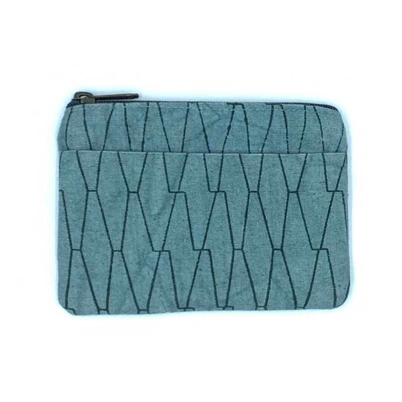 Ethical Artisan Made Blue Coin Purse with Zipper & Pocket