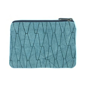 Artisan Made Blue Coin Purse with Zipper & Pocket