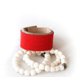 Red Amani Leather Bracelet