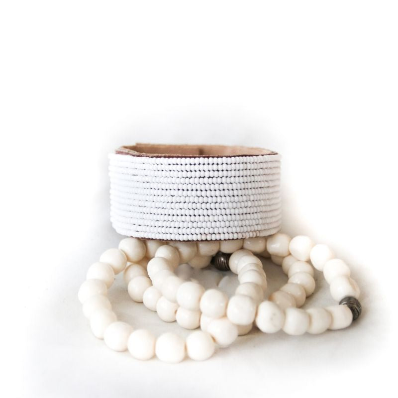 White Amani Leather Bracelet