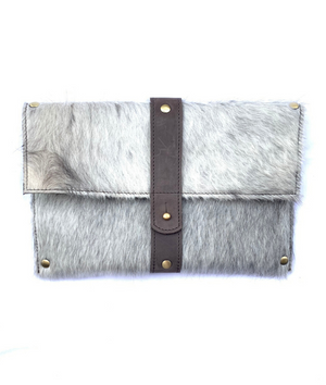 Purposeful cowhide clutch with grey hide and brown finished leather accents