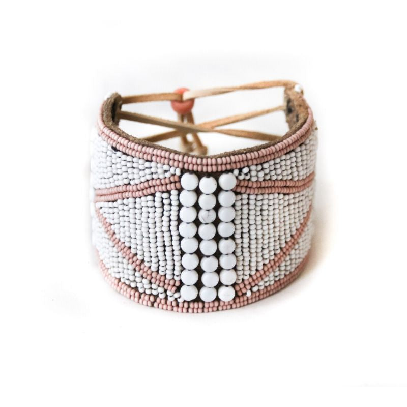 Meaningful Beaded Kenyan Jewelry on Leather, Beaded Cuff with Accents