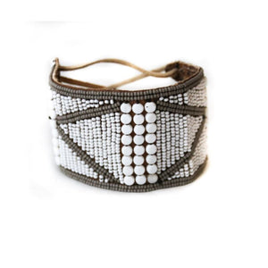 Handmade Beaded Kenyan Jewelry on Leather, Beaded Cuff with Grey Accents, a gift for Good