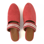 Beaded Mules - Raspberry