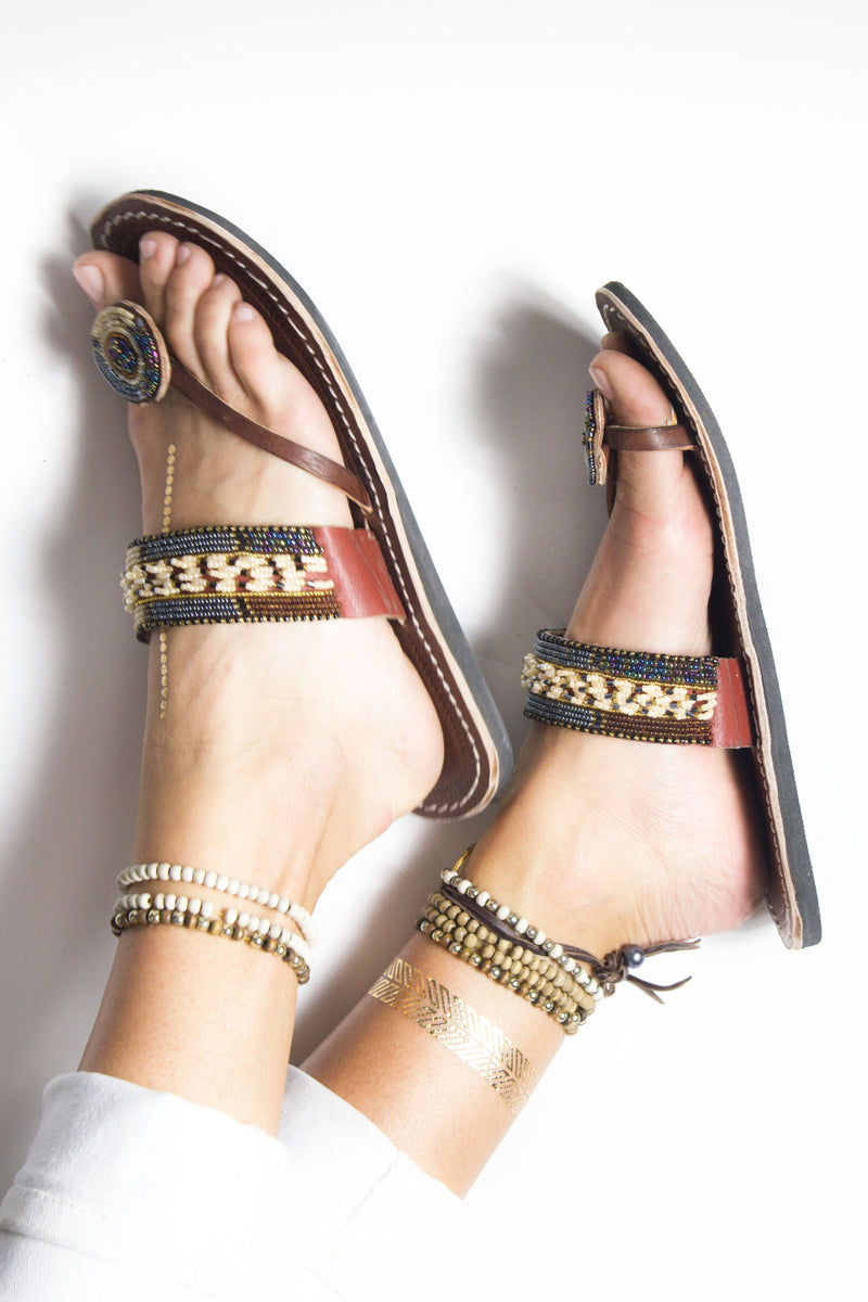 Amani Sandal ethical beaded leather Kenyan sandal