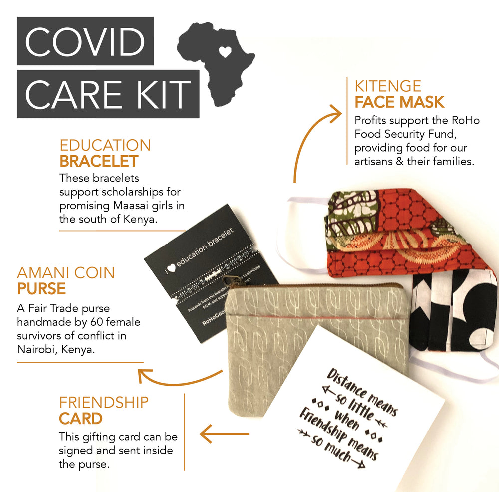 Explanation of what's in a COVID Care Kit including a mask, elastic bracelet, cloth coin purse and note