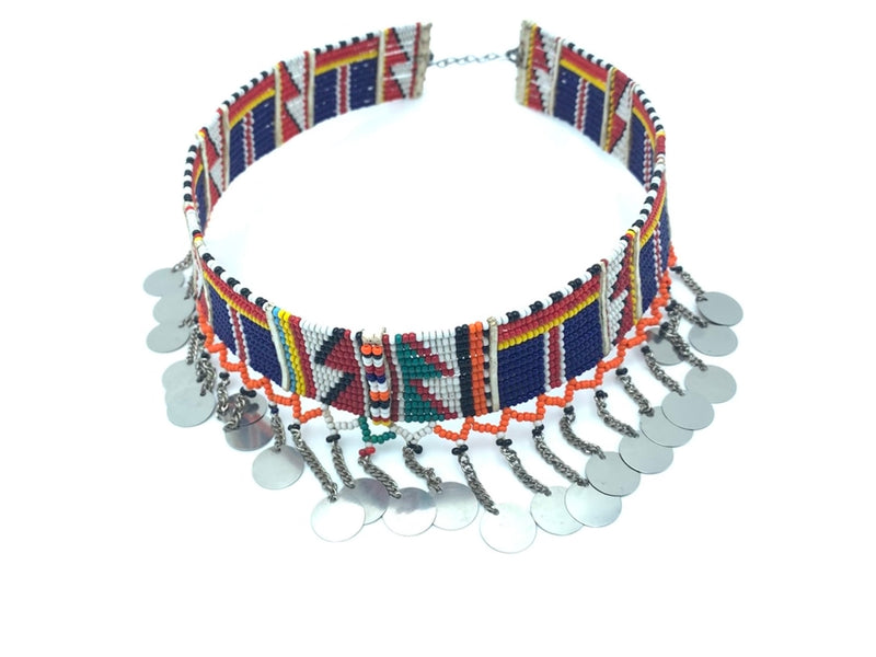 A Fair Trade multicolored beaded Maasai necklace with hanging metal accents