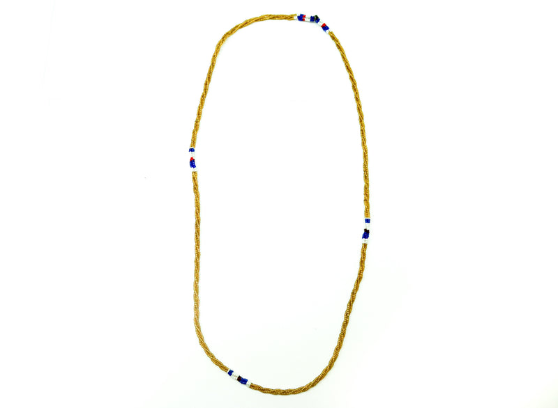 One single gold beaded single strand necklace, handmade Kenyan jewelry