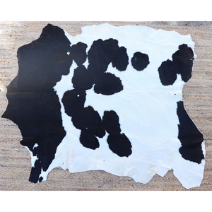 A black and white cowhide rug from Kenya