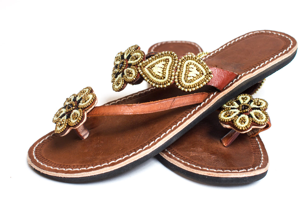 Maua Gold Flower Sandal - Love RoHo