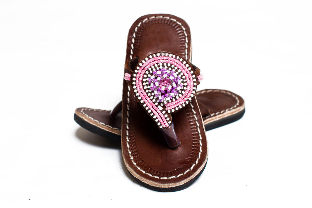 Ethical beaded leather kid's sandal in pink