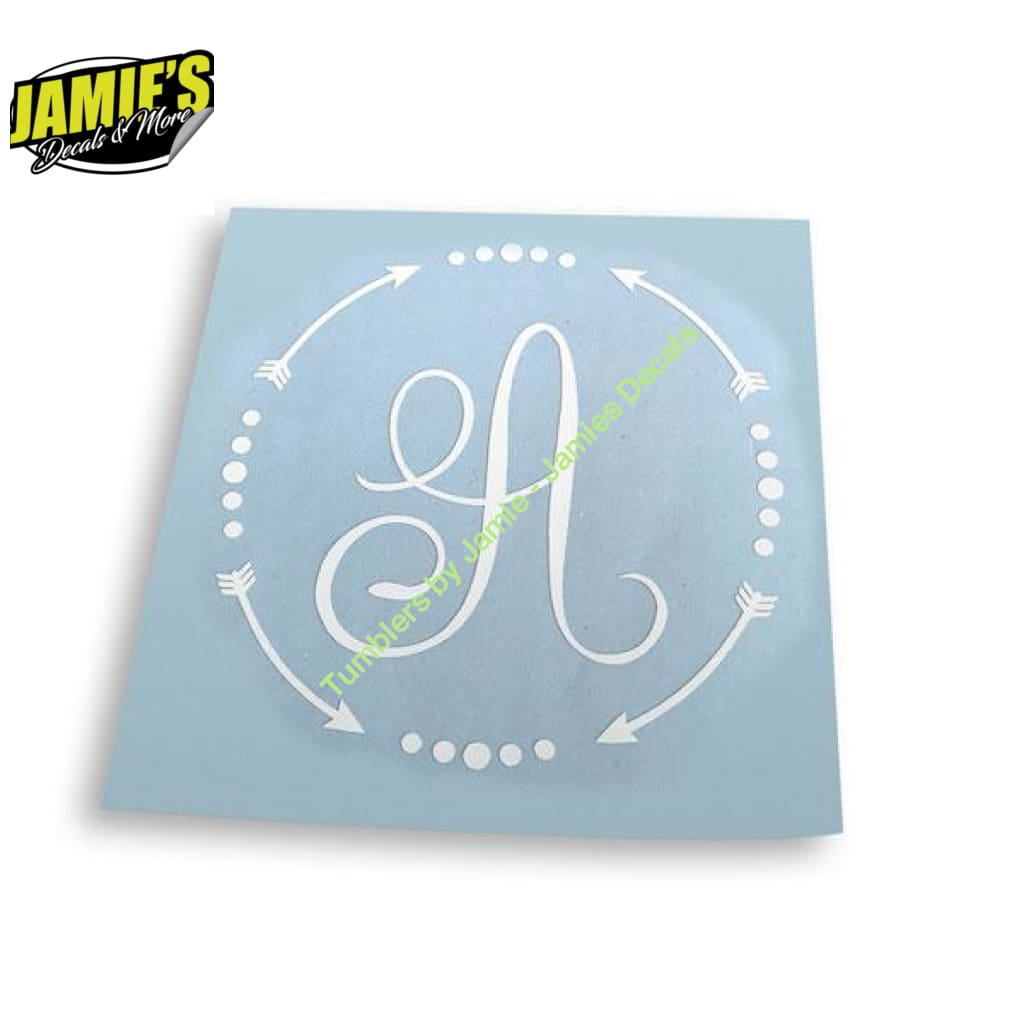 Arrow Circle with Letter in Middle Decal - Four Sizes - Color Options - Jamies Decals