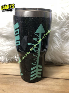 Arrow Name Tumbler- Glitter Tumbler - Bling Tumbler -Made to Order - Personalized Decal Tumbler - Jamies Decals