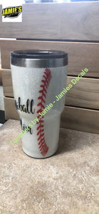 Baseball Mom Glitter Tumbler - Bling Tumbler -Made to Order - Personalized Decal Tumbler - Jamies Decals