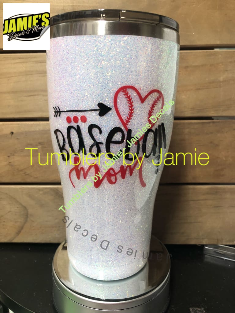 Baseball Mom Glitter Tumbler Design 2 - Bling Tumbler -Made to Order - Personalized Decal Tumbler - Jamies Decals