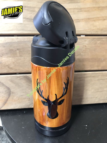 Buck Woodgrain - Sippy Cup - Made to order - Personalized Just for you. - Jamies Decals