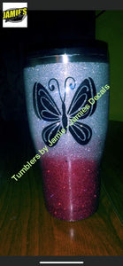 Butterfly Tumbler  - Glitter Tumbler -Made to Order - Jamies Decals