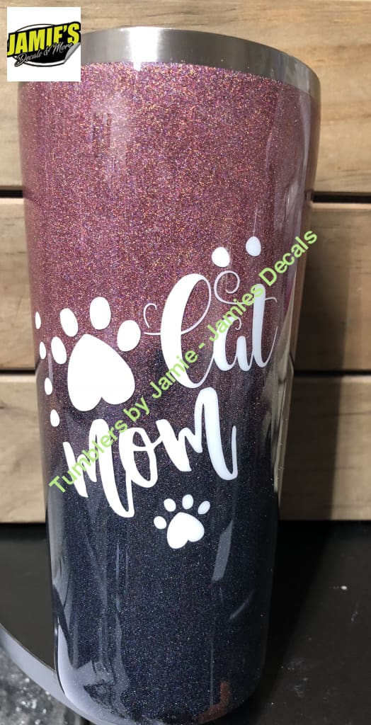 Cat Mom Glitter Tumbler - Bling Tumbler -Made to Order - Personalized Decal Tumbler - Jamies Decals