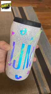 Cheetah Holo Monogram Glittered 12 oz Tall Can Cooler -Made to Order - Personalized just for you Glitter 12 oz can cooler Glitter Tumblers