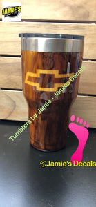 Chevy inspired Tumbler- Wood Grain Tumblers - Jamies Decals