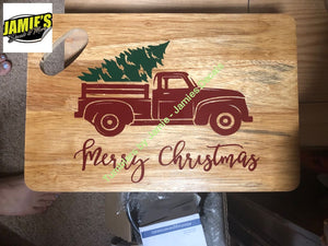 Christmas Red Truck.Christmas Red Truck Cutting Board