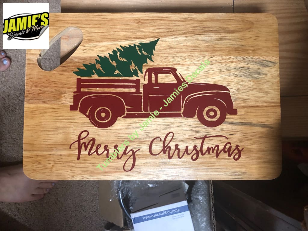 Christmas Red Truck Cutting Board - Jamies Decals