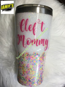 Cleft Mommy Tumbler - Glitter Tumbler -Bling Tumbler -Made to Order - Personalized Decal Tumbler - Jamies Decals