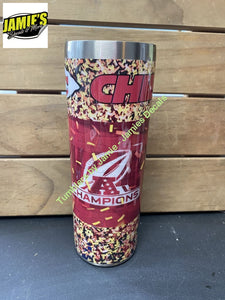 Confetti Kansas City Chiefs Inspired Tumbler - Made to Order 20 oz Skinny Tumbler