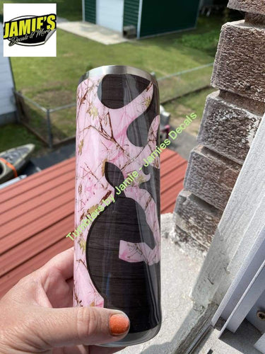 Country Girl PINK Camo Tumbler - Camo Tumbler - Made to Order 20 oz Skinny Tumbler Camo Collection