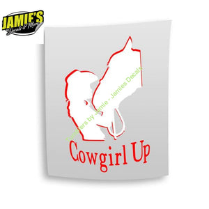 Cowboy Up Girl Decal - Four Sizes - Color Options - Jamies Decals
