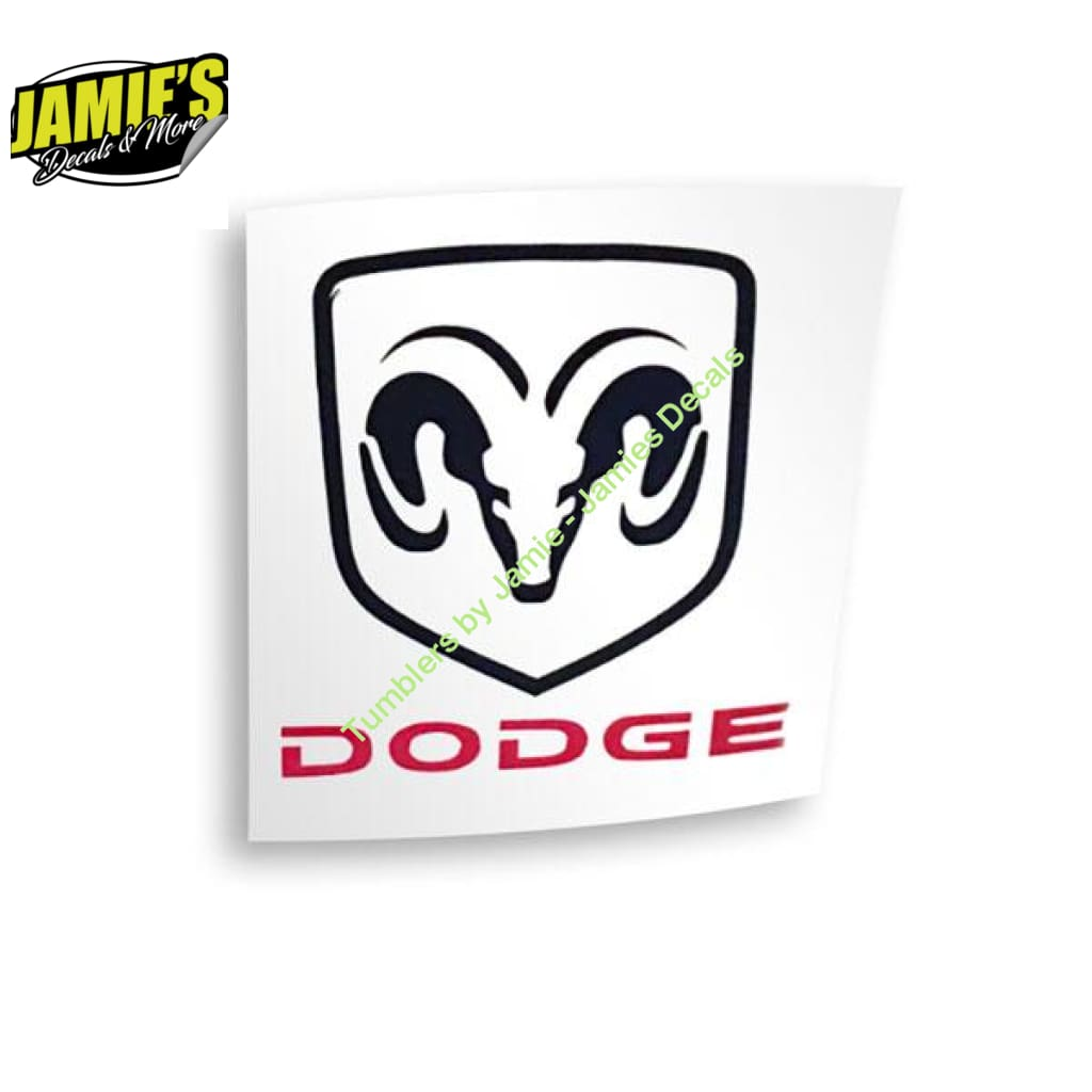Dodge with Ram Decal - Four Sizes - Color Options - JD version - Jamies Decals