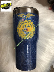 FFA Tumbler - Glitter Tumbler - Bling Tumbler -Tumbler - Made to Order - Personalized Decal Tumbler - Jamies Decals